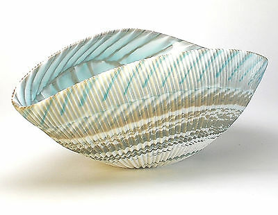"""HOME DECOR - MURANO GLASS DECORATIVE SHELL BOWL - IVORY / TURQUOISE - 12"""" x 7"""""""