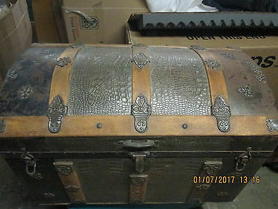 Vintage ANTIQUE Hump Camelback, Steamer Trunk, Dome Wood and Pressed Floral Tin