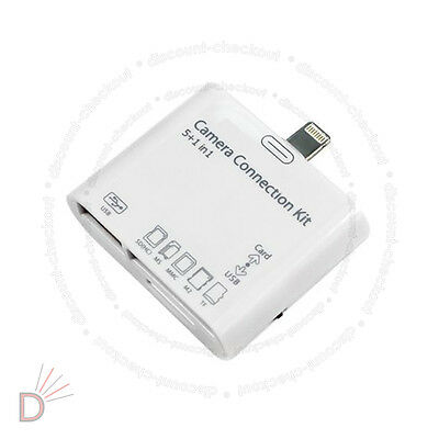 5 in 1 USB Camera Connection Kit SD Card Reader Adapter for iPad 1 2 3 UKDC