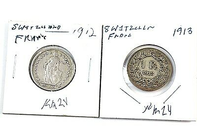 1912 & 1913 Switzerland Silver 1 Franc Coin No Reserve