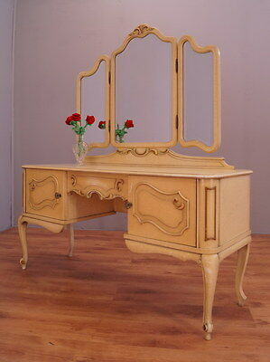 1681 !! Amazing Shabby Chic Dressing Table With Mirror In Louis Xv Style !!