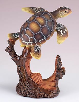 Sea Turtle Carved Wood Look Figurine Resin 4 Inch High New!