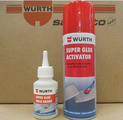Wurth Super Glue 50G Thick Grade + Super Glue Activator 200 Ml -Free Postage