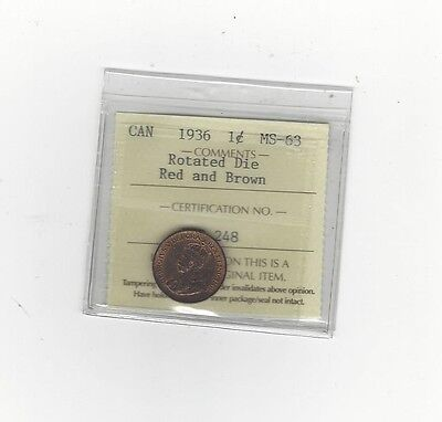 **1936** ICCS Graded Canadian, Small One Cent, **MS-63** Rotated Die