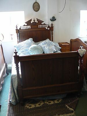 Antique French Larger Single Pitch Pine Bed