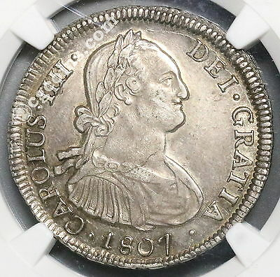 1807-So NGC AU 50 CHILE Silver 4 Reales Spain Colony Coin 48K Minted (16122201D)