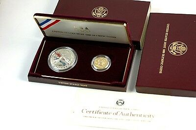 1988 US Olympic Proof Coin Set Gold $5 & Silver $1 Dollar