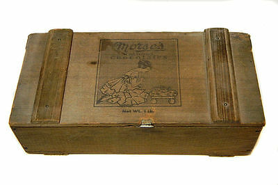 Antique Wooden Candy Box Morse's Red Wood Chocolates