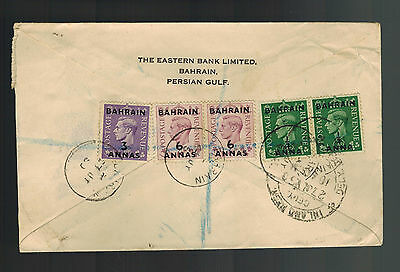 1950 Bahrain airmail cover to India Registered Multi Franked Bank to Bank
