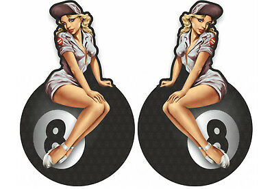 2er small Pinup Oldschool Aufkleber Eightball Sticker Retro Pin up 8 Rockabilly