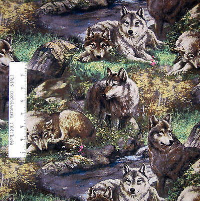"""WOLF Scene calle /""""MUZZLE NUZZLE/"""".ONE 18/""""x22/"""" FabricPanel to Sew.Picture is11x14/"""""""