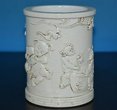 Exquisite Antique Chinese Monochrome Porcelain Brush Pot Marked Wang Bingrong T5