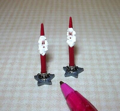 Miniature Pair Red Santa Christmas Candles w/Metal STAR Bases: DOLLHOUSE 1/12
