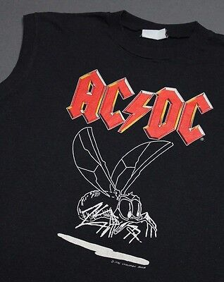 M * vtg 80s 1985 AC/DC Fly On The Wall tour muscle t shirt * 13.138