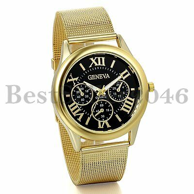 Mens Gold Tone Stainless Steel Band Black Dial Quartz Dress Wrist Watch