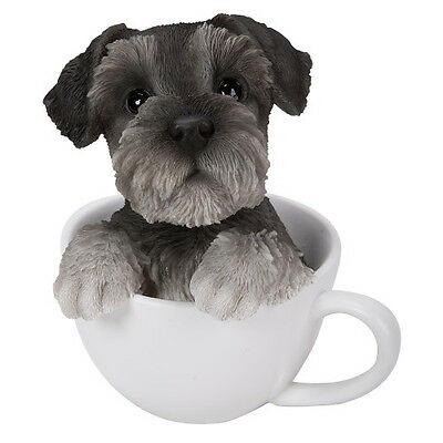 TEACUP PUPS Figurine Statue SCHNAUZER DOG PUPPY in Cup Mug Sculpture GREY GRAY