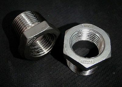 """STAINLESS STEEL BUSHING REDUCER 3/4"""" x  1/2"""" NPT PIPE BS-075-050"""