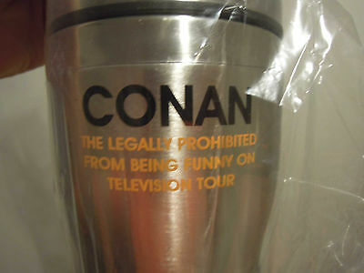 SWEET Conan O'Brien Steel Coffee Tumbler New ~ FROM HIS Prohibited TOUR ~ NEW :)
