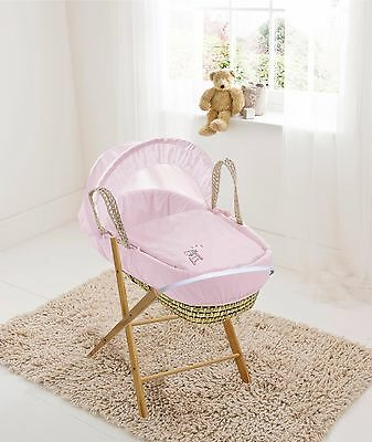 Clearance Pink Sleepy Sheep Palm Moses basket + Opal Folding Stand