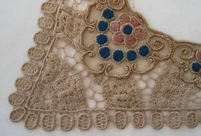 Vintage Art Deco Schiffli French Net Lace Collar Embroidered Trim Blue Pink