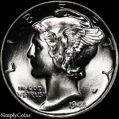 1944 Mercury Dime 10c ~ BU Uncirculated ~ 90% Silver US Coin