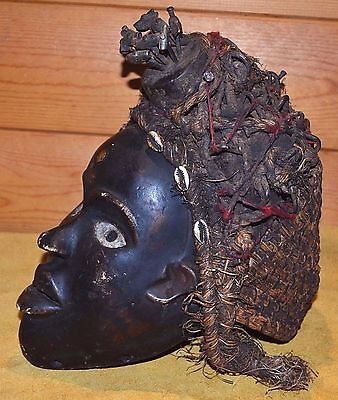 Antique African Bakongo Tribal Nail Fetish Crown Of Thorns Mask Congo, Africa