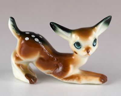"Vintage Miniature Bone China Spotted Fawn Deer Figurine 1.25"" High Glossy Finish"