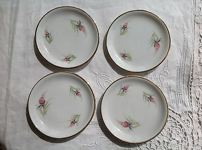 Set Of 4 Vintage Pink Stocks Flowers Kpm Krister Germany China Butter Pats Pads