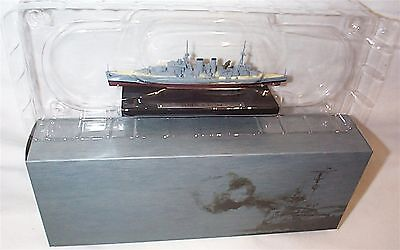 HMS Exeter war Ship Mounted on display Plinth 1:1250 Scale  mib