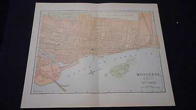 Montreal Canada Street  Color Map 1890 Beautiful 10 1/2 X 13 See Others