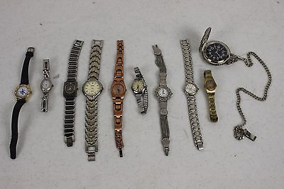 Lot Of 10 Vintage Watches for Repair/Parts Mens/Womens Pocket Watch
