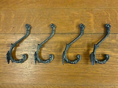 "4 Natural Iron Color Elegant 6"" Coat Hanging Hooks Decorative Antique Style Wall"