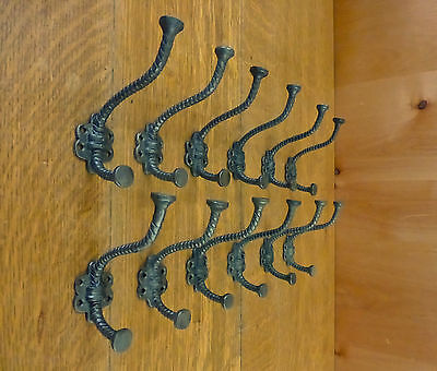 "12 Natural Iron Color Elephant 4.5"" Coat Hanging Hooks Decorative Antique Style"