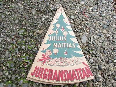 1930's Swedish Cardboard Christmas Tree Skirt Julius Mattias Art Tomte Nisse