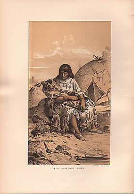 """1881 COLOR LITHOGRAPH """"Chippeway Dead"""" BURIAL CUSTOMS OF NATIVE AMERICAN INDIANS"""