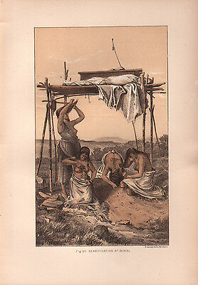 """1881 COLOR LITHOGRAPH """"Scarification"""" BURIAL CUSTOMS OF NATIVE AMERICAN INDIANS"""