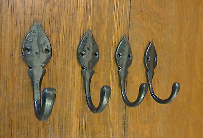 "4 Natural Iron Color Single Leaf 3.5"" Hanging Hooks Decorative Antique Style"