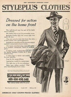 1919 STYLEPLUS CLOTHES Men's Fashions-Dress for Action on Home Front Ad