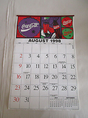 August 1998 To July 1999 Coca-Cola Calendar  With Complete Date Pad