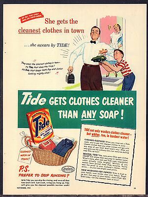 1951 TIDE Vintage Laundry Soap AD Father leaves for work