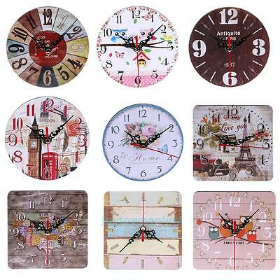Vintage Wooden Wall Clock Round Square Shabby Rustic Kitchen Home Office Decor
