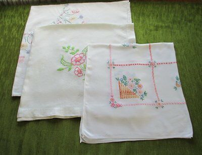 VINTAGE TABLECLOTH-HAND EMBROIDERED-COLLECTION  of 3