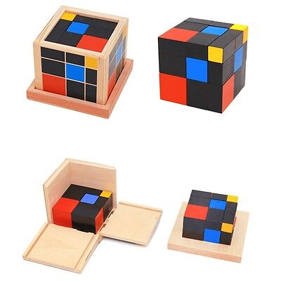 Wooden Trinomial Cube Early Learning Educational Toys for Toddlers new