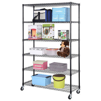 "83x48x18"" Heavy Duty 6 Tier Wire Metal Shelving Rack Steel Shelf Adjustable"