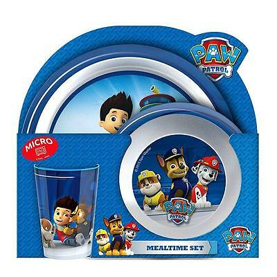 Paw Patrol - Set Tableware - Microwave Dinnerware Set - Plate, Bowl, Tumbler