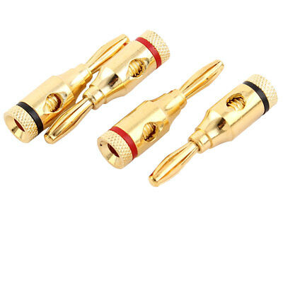 Musical Audio Speaker Cable Wire Open Screw Type Banana Connector 4 PCS