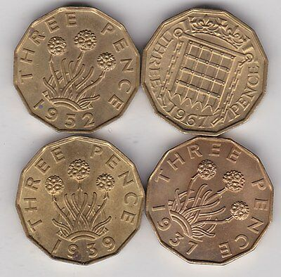 4 x BRASS THREEPENCE COINS 1937,1939,1952 & 1967 IN HIGH GRADE