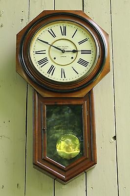 Fine Antique ANSONIA Low Drop Hanging Wall Clock Royal College London England