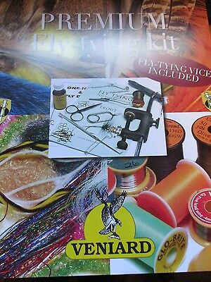 New Veniard Premium Fly-Tying Material Kit Vice & Tools for 1000's of Flies