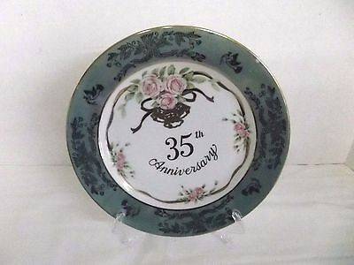 Lefton Japan 35th Anniversary Plate, Gold Writing & Trim Green & Pink Roses